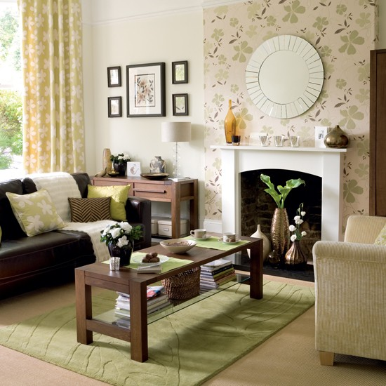 Fresh Green And Chocolate Living Room