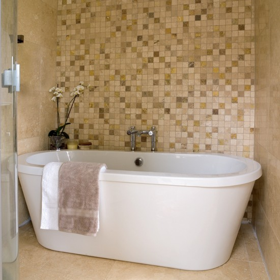 Mosaic feature wall bathrooms bathroom ideas image for Mosaic tile designs for bathrooms