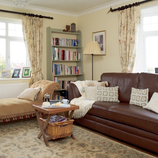 Leather Sofa Is Teamed With Upholstered Furniture For A Cosy Country