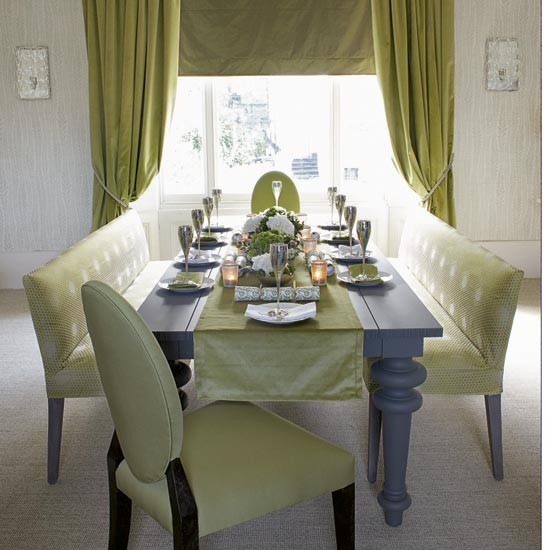 Green and silver dining room dining rooms dining room ideas image - Green dining room furniture ideas ...