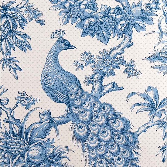 Wallpaper Designs With Birds : Peacock hand printed wallpaper from hamilton weston bird