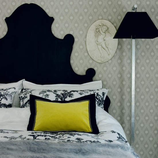 Monochrome bedroom with customised headboard and floor lamp | PHOTO GALLERY | Housetohome