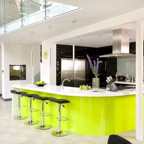 Lime green kitchen cabinets weird and wonderful kitchens for Green and white kitchen designs