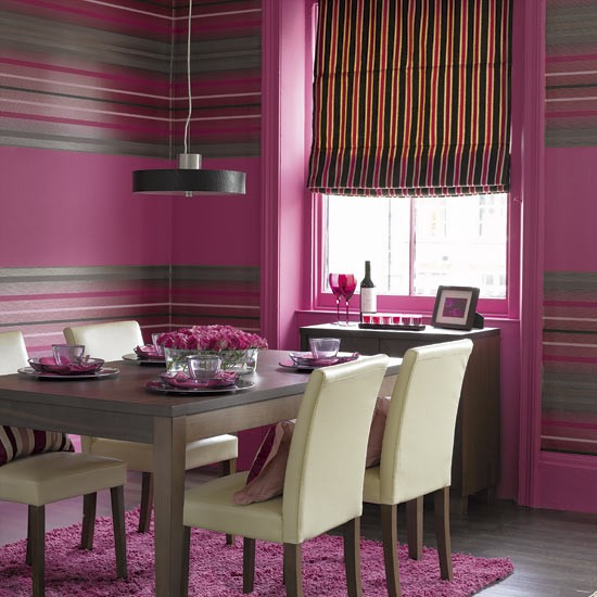 Strawberry stripes dining room | Dining rooms | Dining room ideas | Image | Housetohome