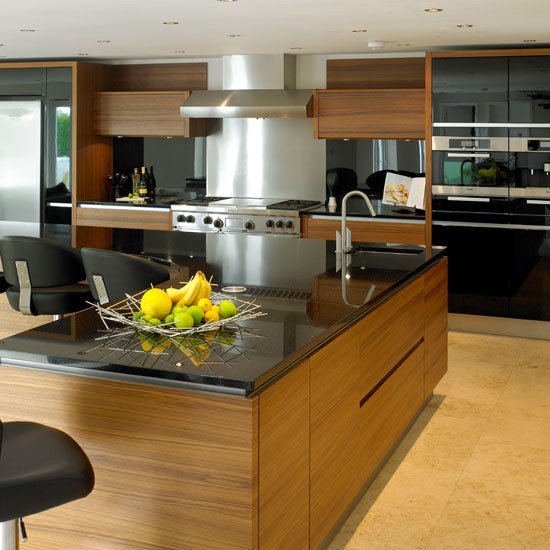 Sleek teak kitchen | housetohome.