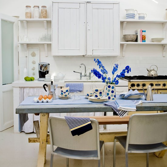 White and blue country kitchen | Country kitchens | kitchens | decorating | Housetohome.co.uk
