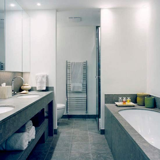 Grey marble bathroom with double sink for Y hotel shared bathroom