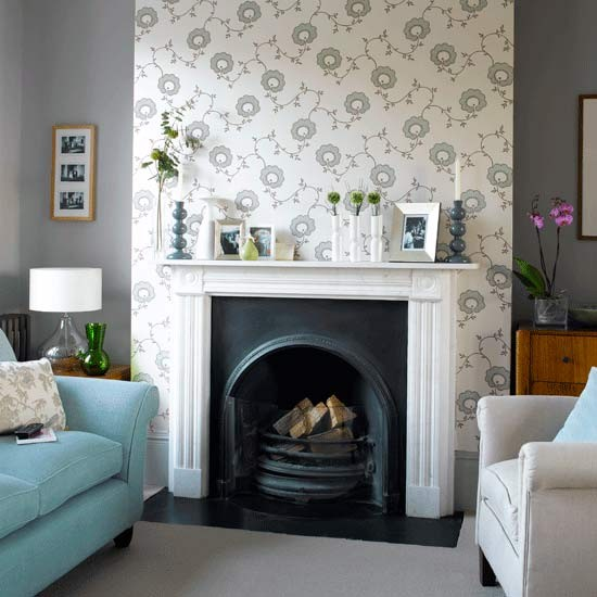 How to wallpaper a chimney breast for Front room feature wallpaper