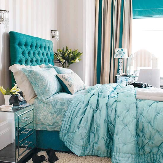 Bright blue accents bedroom | Bedroom designs | Image | housetohome