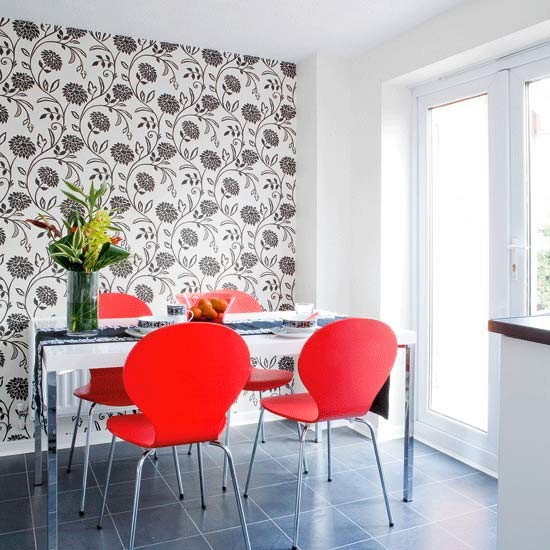 Bold feature wall dining room dining rooms dining room for Wallpaper for dining room feature wall