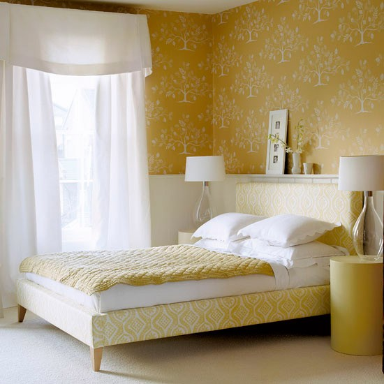 Interior Combination Wall With Yellow Wall : ... bedroom  Modern bedroom designs  Wallpaper  housetohome.co.uk