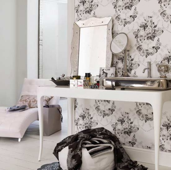 Charcoal florals dressing area bedrooms decorating for Dressing area in bedroom