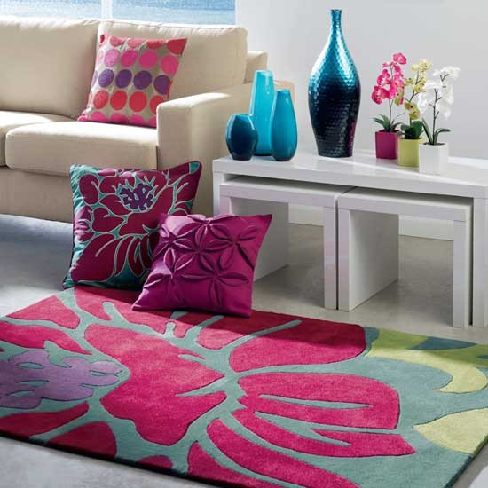Give your home a shot of colour with a vibrant floral rug