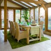 Conservatory dining room with beams