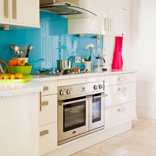 Blue Splashback Kitchen Kitchens Kitchen Ideas Image