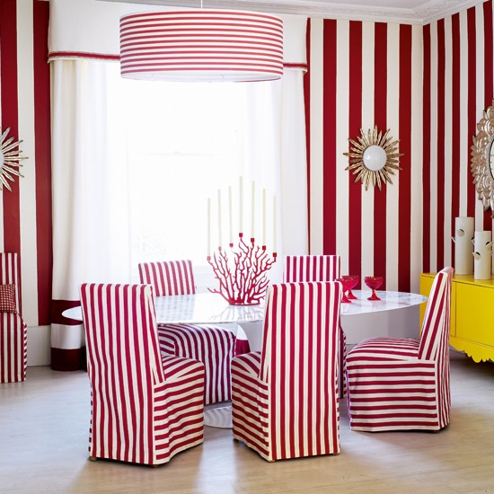 Bold stripes dining room | Dining rooms | Dining room ideas | Image | Housetohome