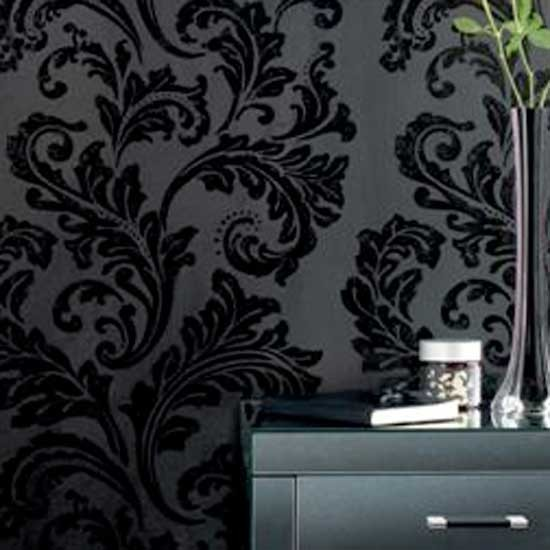 black damask wallpaper on - photo #20