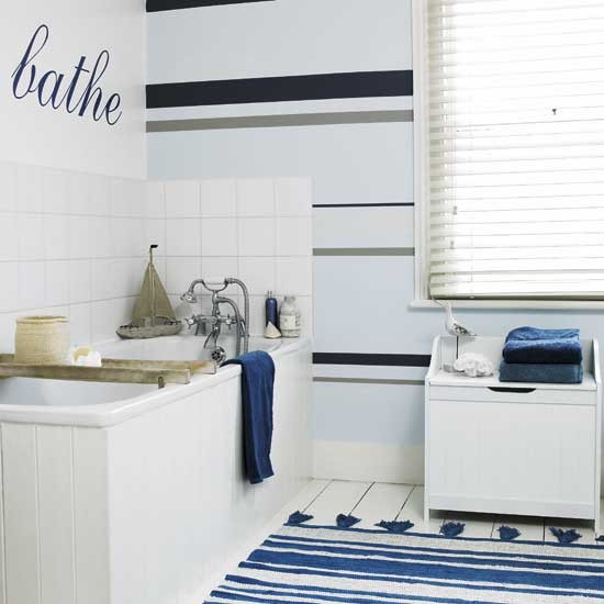This Bathoom And The Slatted White Blind Adds Privacy While Giving A