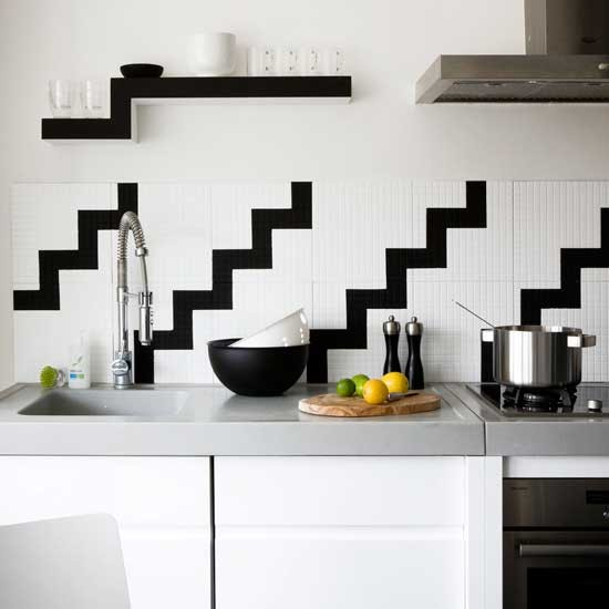 monochrome tiled kitchen chic monochrome 10 decorating