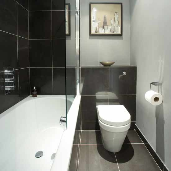 Small monochrome bathroom small bathroom design ideas for Small bathroom design black and white