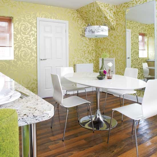 Shimmering wallpaper dining room dining rooms for Dining room wallpaper designs