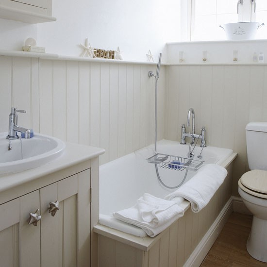 Modern country style farrow and ball shaded white colour for Bathroom ideas using tongue and groove