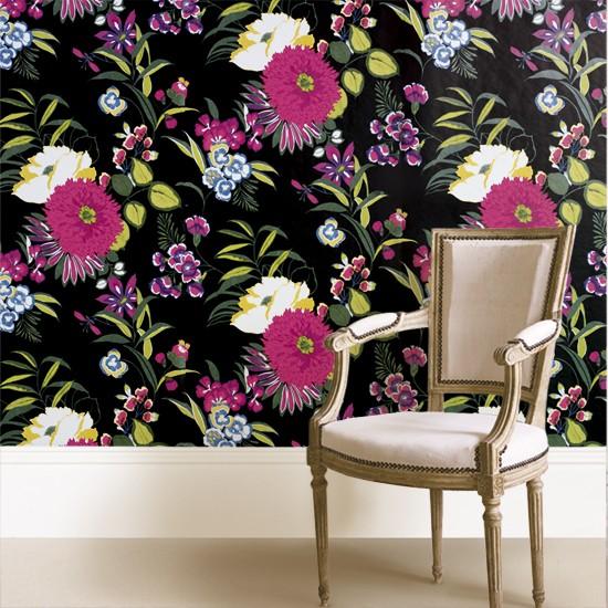 Wallpaper - Black floral - B&Q  Wallpaper under £30 ...