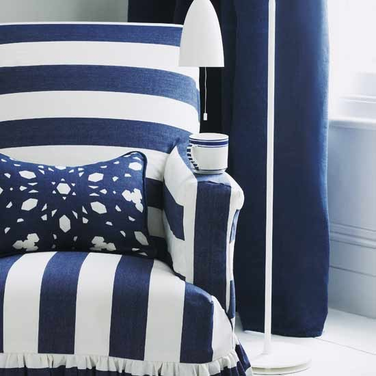 Use wide stripes | Design ideas: decorate with blue and white | Armchair | Decorating Ideas | PHOTO GALLERY | Housetohome