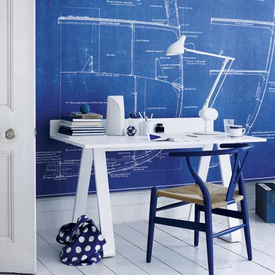 Modern blue and white home office with wall canvas