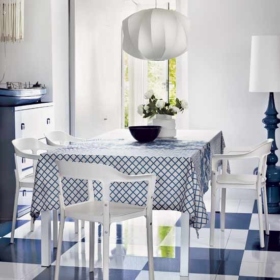 Mix flooring and textiles in bold colours | Design ideas: decorate with blue and white | Dining room | Decorating Ideas | PHOTO GALLERY | Housetohome.co.uk