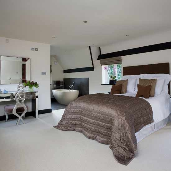 Open plan modern bedroom sleek interior designs bed for Open plan bedroom bathroom ideas