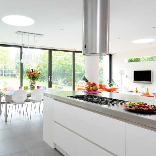 Open plan kitchen diner layout images Contemporary open plan kitchen