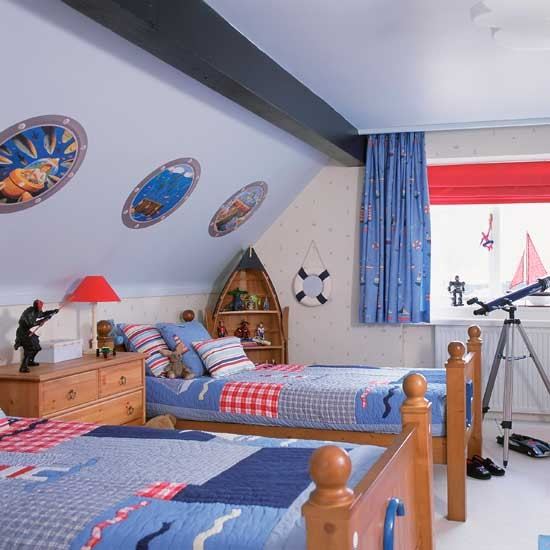 Nautical boys 39 bedrooms with boat shaped shelving boys for Boy s bedroom ideas