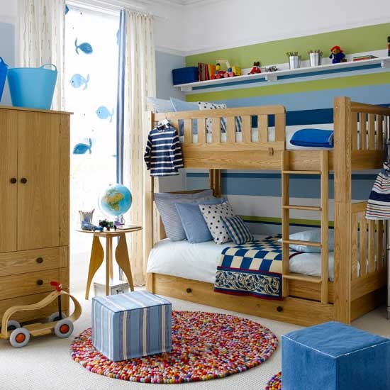 Colourful boys bedroom with bunks