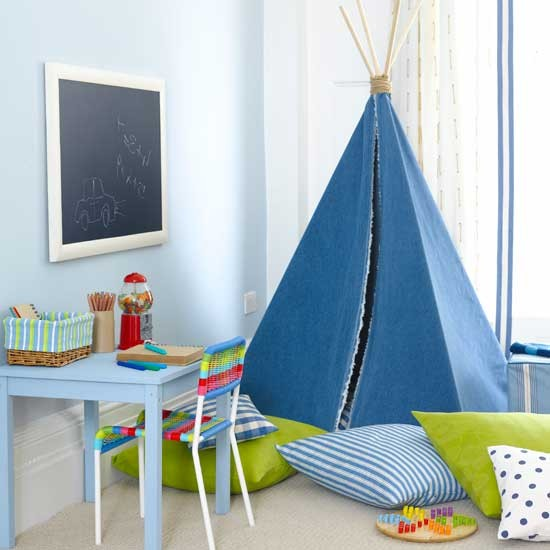 Boys bedroom with funky teepee Boys bedroom ideas and