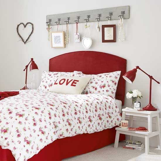 country cottage bedroom with red bed bedrooms ideas image