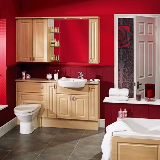 Red modern bathroom fitted bathrooms - Red bathroom pictures ...