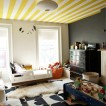 Child's bedroom with stripy ceiling