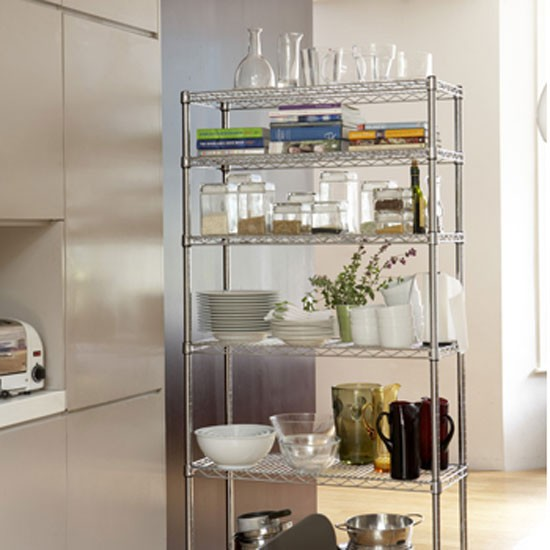 Chrome kitchen rack from the holding company kitchen for Cheap kitchen storage ideas