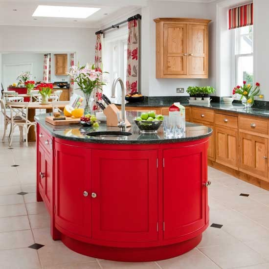 Red island unit red kitchen colour ideas home trends for Kitchen ideas red