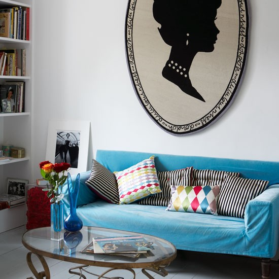Living room with blue sofa | Lulu Guinness | Victorian terrace | Decorating ideas | PHOTO GALLERY | Housetohome.co.uk