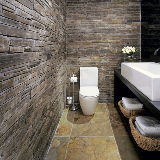 Add rustic texture bathroom design ideas for Rustic tile bathroom ideas