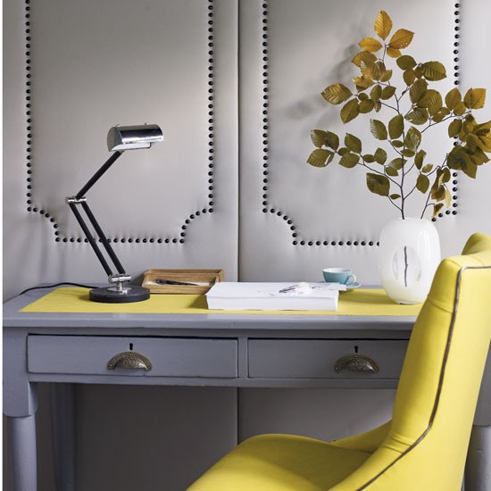 Vibrant yellow home offices design ideas image for Office design yellow