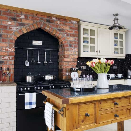 Brick Feature Wall Kitchen Kitchens Design Ideas Image