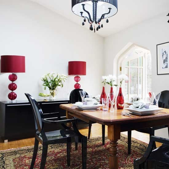 Dining room with red accents decorating ideas image for Red dining room decorating ideas