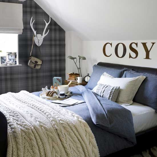 Cosy Bedroom Bedroom Design Plaid Wallpaper