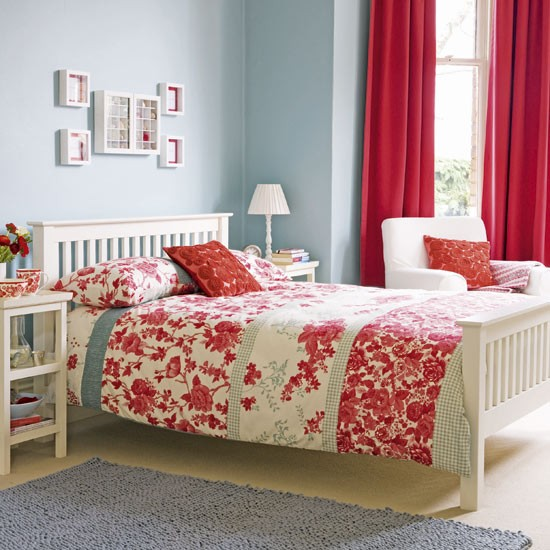 Add a splash of vibrant red to add warmth to your bedroom
