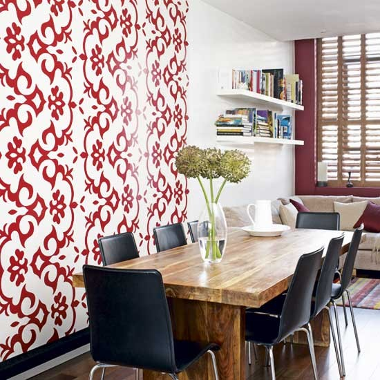Feature wall dining room dining rooms design ideas for Wallpaper for dining room feature wall