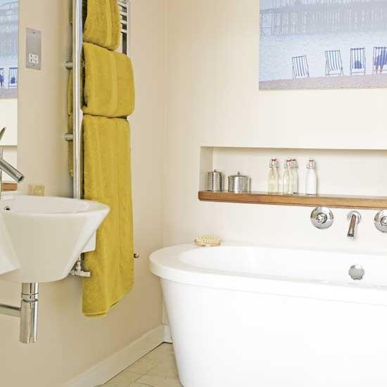 Yellow accents bathroom | Bathroom idea | Shelf | Image | Housetohome.co.uk