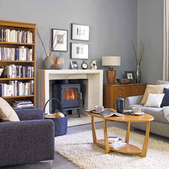 Grey and blue living room living rooms design ideas for Gray and wood living room